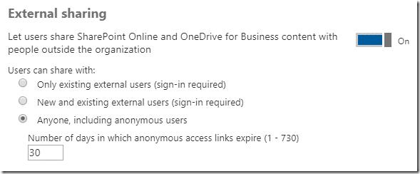 Sharing settings Office 365 Admin Center