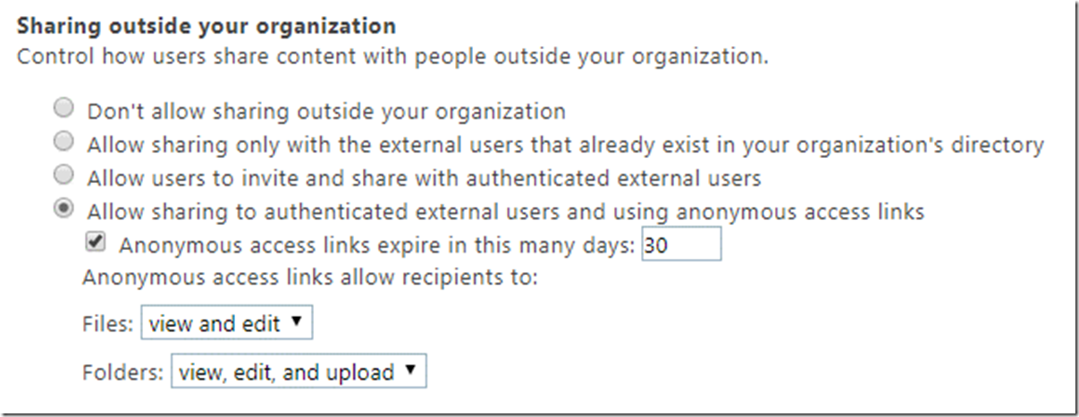 Sharing settings SharePoint Admin Center
