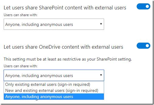 Sharing settings OneDrive Admin Center