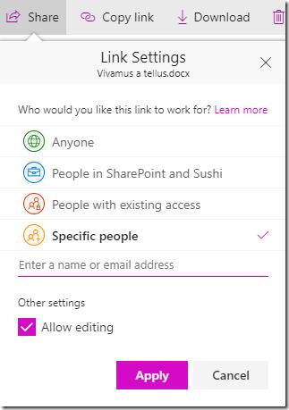 Modern sharing UI