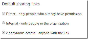 Anonymous link setting